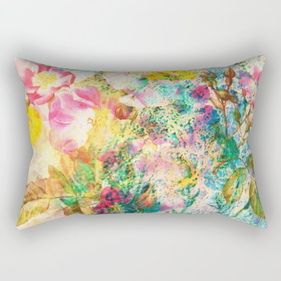 abstract with pink flowers Rectangular Pillow