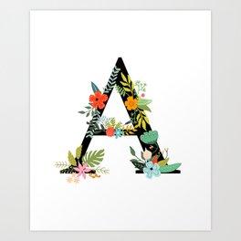 Monogram Floral Letter A Art Print