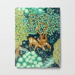 William Morris Deer by a Brook Tapestry Indigo Metal Print