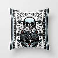 russian Throw Pillows featuring Russian Doll by koivo