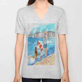 A Day at the Beach (finished) Unisex V-Neck