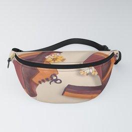 70s platforms with flowers_ orange & brown palette _Retro fashion illustration Fanny Pack