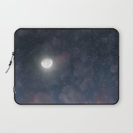 Glowing Moon on the night sky through pink clouds Laptop Sleeve