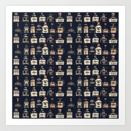 Alcoholic Drinks Pattern Art Print
