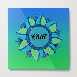 Chill Blue Green Bohemian Mandala Metal Print
