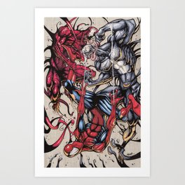 Spider Fight, Man. Art Print