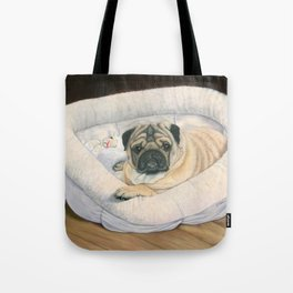 Pug and His Bed Tote Bag