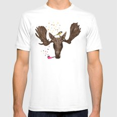 Moose II MEDIUM White Mens Fitted Tee