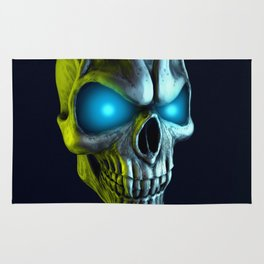 Skull with glowing blue eyes Rug