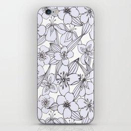 Hand drawn modern black white botanical floral pattern iPhone Skin