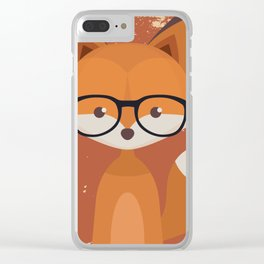 Hipster Fox Clear iPhone Case
