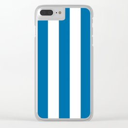Sapphire blue - solid color - white vertical lines pattern Clear iPhone Case