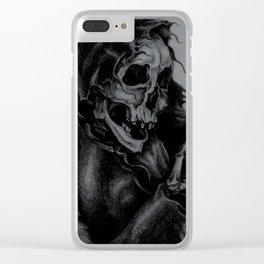Skeleton Holding Diamond Clear iPhone Case