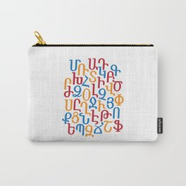 ARMENIAN ALPHABET MIXED - Red, Blue and Orange Carry-All Pouch