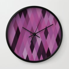 Muted Berry Color Harlequin Pattern Wall Clock
