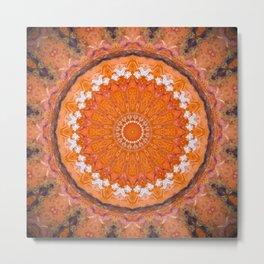 Orange October Mandala Metal Print