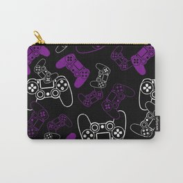 Video Games Purple on Black Carry-All Pouch