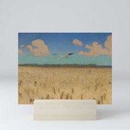 'Fields of Gold' landscape painting by Agnes Slott-Møller Mini Art Print