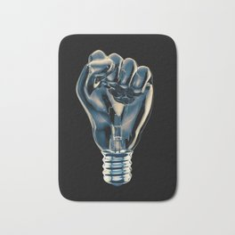 Protest fist light bulb / 3D render of glass light bulb in the form of clenched fist Bath Mat