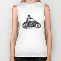 motorbike Biker Tanks featuring Looking for the drones, VW Scout Trooper Motorbike by Vin Zzep