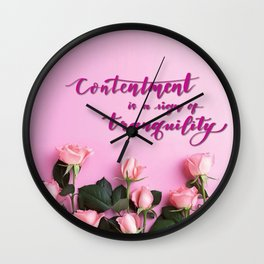 HandLettering - Contentment Wall Clock