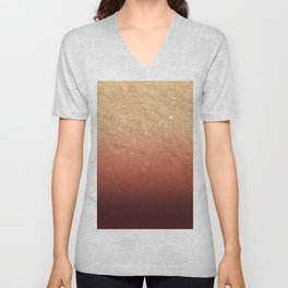 Elegant gold faux glitter chic marsala red gradient pattern Unisex V-Neck