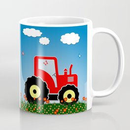 Red tractor in a field Coffee Mug