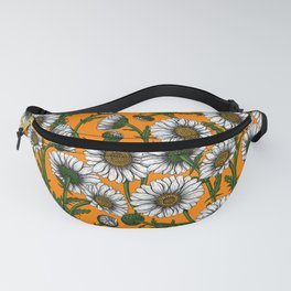Daisies on orange Fanny Pack