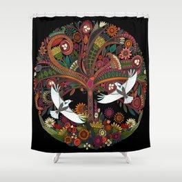 tree of life black Shower Curtain