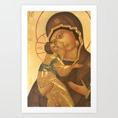 Orthodox Icon of Virgin Mary and Baby Jesus Art Print