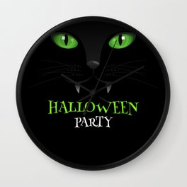 Halloween party scary cat costume Wall Clock