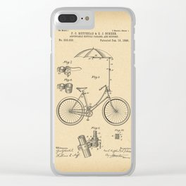1896 Patent Adjustable bicycle parasol and support Clear iPhone Case
