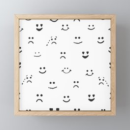 Sad face, happy face, smiley face, eyes heart face, crying face repeated pattern Framed Mini Art Print
