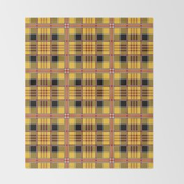 Yellow plaid Throw Blanket