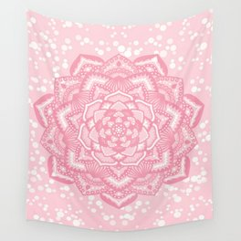 Pink mandala flower Wall Tapestry
