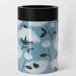 Cotton Flowers on Blue Pattern Can Cooler