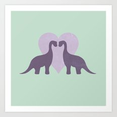 Prehistoric Love - sans text Art Print