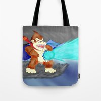 donkey kong Tote Bags featuring Donkey Kong Super Kamehameha by Juiceboxkiller