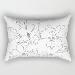 Minimal Line Art Magnolia Flowers Rectangular Pillow