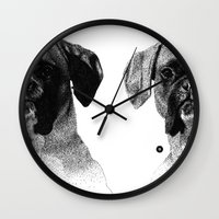 boxer Wall Clocks featuring Boxer by Nuria Galceran