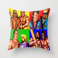 wrestling Throw Pillows featuring Wrestling Superstars by VGPrints