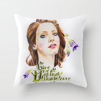 ultraviolence Throw Pillows featuring Ultraviolence by eleidiel