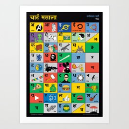Hindi Chart Masala Art Print