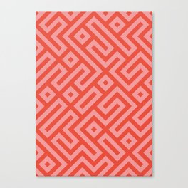 Modern Aztec Tribal Maze Red and Pink Canvas Print