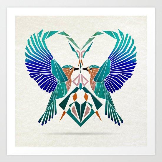couple of blue birds Art Print