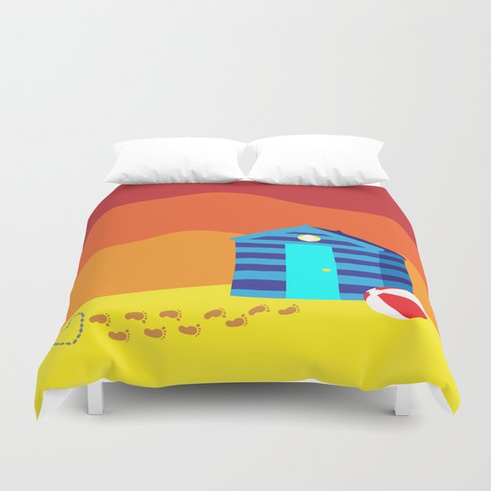 A Message in the Sand at Sunset  Duvet Cover