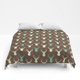 Brown ivory pastel green vector deer animal pattern Comforters