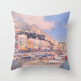 Early Morning In Capri's Marina Grande Throw Pillow