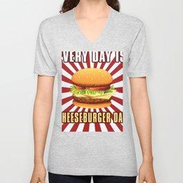Cheeseburger Day Funny Cheeseburgers  Unisex V-Neck