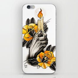 Hand holding CANDLE - tattoo iPhone Skin